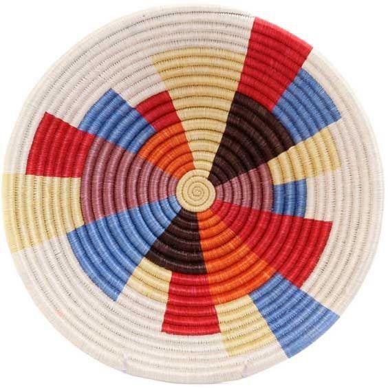African Basket Rwanda Sisal Coil Weave Bowl 12 Inches