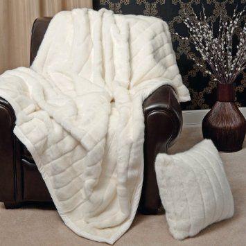 """Amazon.com - Faux Fur Throw Blanket 60"""" x 86"""" - White Mink"""