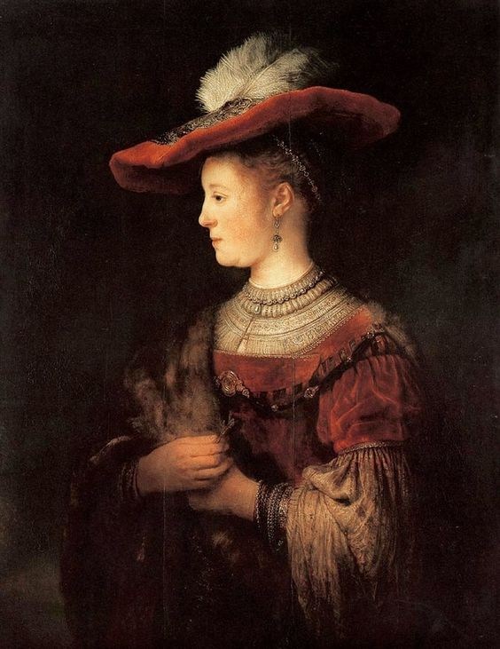 "Rembrandt ""Saskia in a Red Hat"", 1642 (The Netherlands, Baroque / Dutch Golden Age, 17th cent.)"