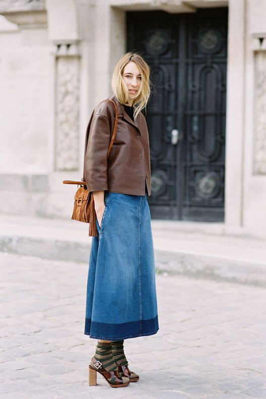 Denim masterclass - how to wear a long denim skirt? it's all about ...
