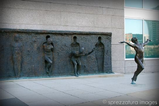 """Freedom"" Zenos Frudakis, 2001. Is located in front of the GlaxoSmithKline World Headquarters which is at 17th and Vine in Philadelphia"