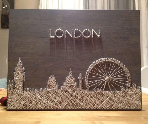 String Art Weihnachtsgeschenke selber machen Brett mit Nagel und Faden London Wohnzimmer