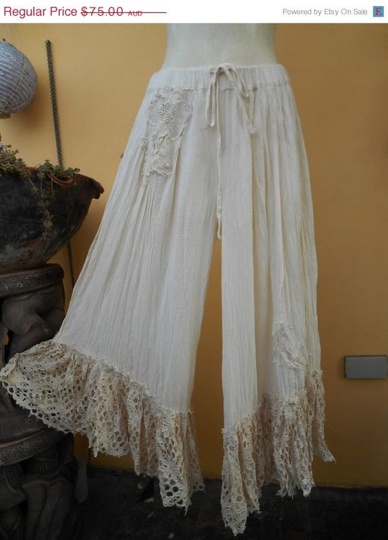 RESERVED  lagenlook 3/4 pants with shabby crochet by wildskin, $60.00
