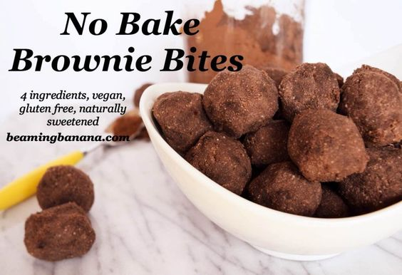 Poppable, chocolatey no bake brownie bites! Made with just 4 healthy ingredients, these bites are vegan, gluten free, naturally sweetened, and they make the perfect sweet snack or dessert | beamingbanana.com
