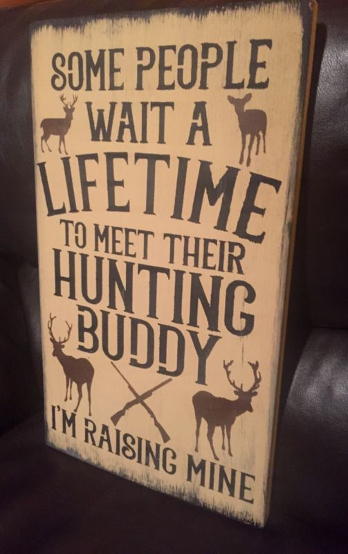Deer Hunting Buddy Rustic Wood Sign Primitive Cabin Camp Decor Wooden Nursery