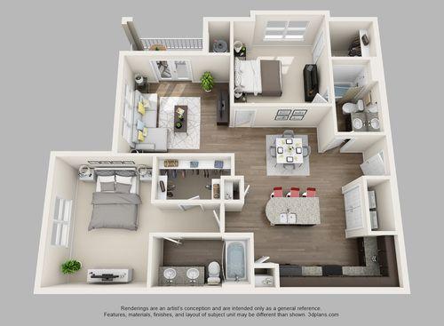 3d Furnished Apartmentfloorplans Grundriss Wohnung Haus Plane