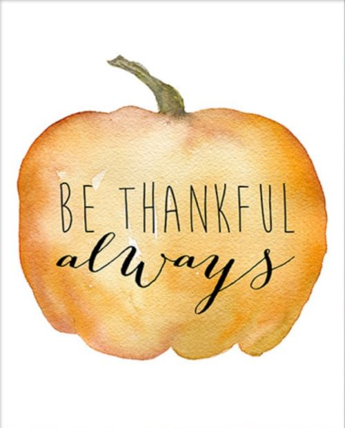 be thankful always watercolor pumpkin autumn fall thanksgiving