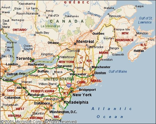 Map Of Eastern Canada And Us Map Of North Eastern Usa map of eastern us and canada canada east
