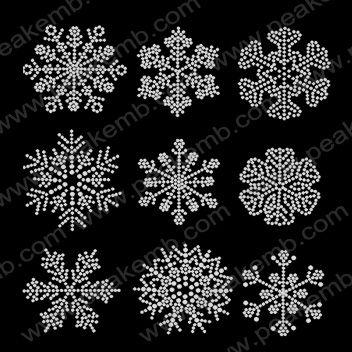 Snowflak Iron On Crystal Design For Christmas Rhinestone Transfer: