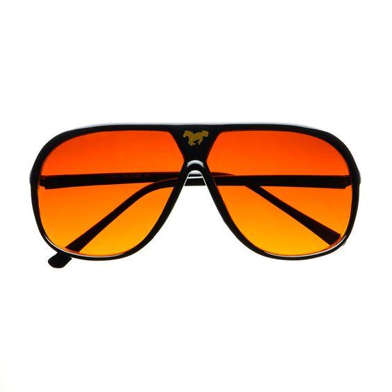 #retro #vintage #style #aviator #sunglasses #shades #horse #logo #womens #mens #black #orange #red #lens #driving