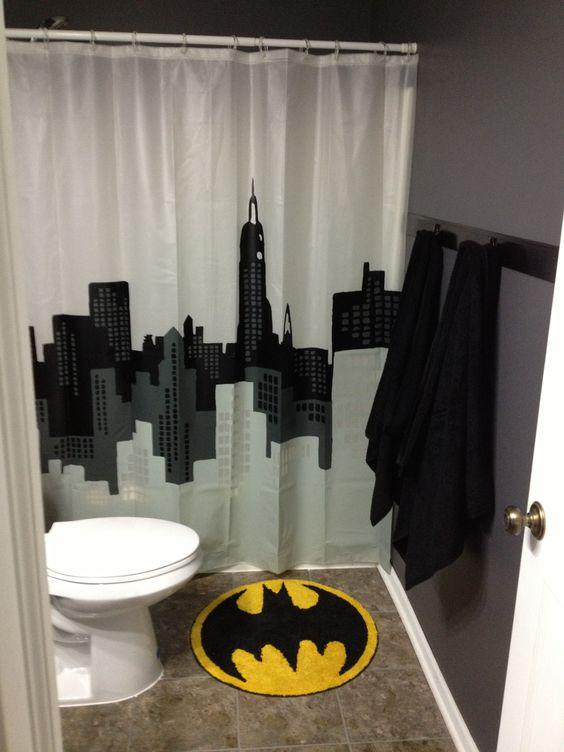 Batman bathroom that can be easily changed when the boys for Batman bathroom ideas