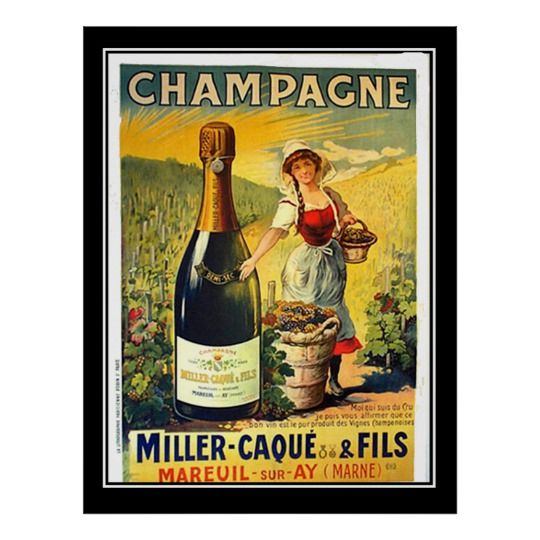FRENCH LITTLE GIRL BOTTLE OF CHAMPAGNE BURST P DROUET /& CO VINTAGE POSTER REPRO