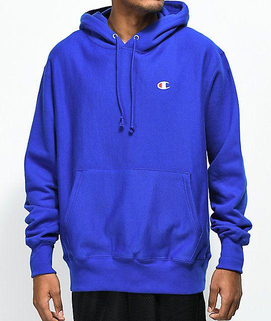 blue champion hoodie