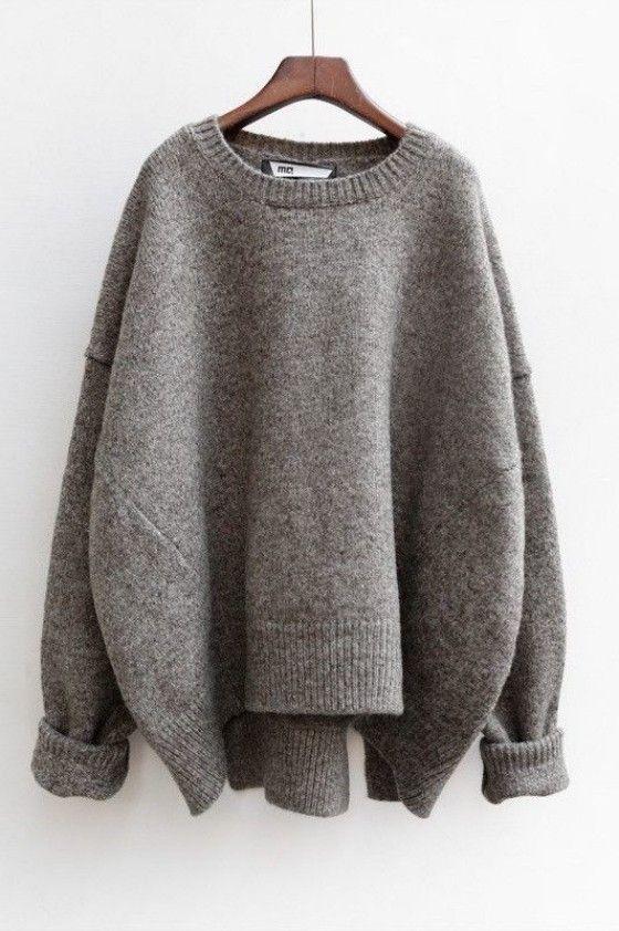 Grey Plain Split Round Neck Fashion Pullover Sweater | Pullover ...