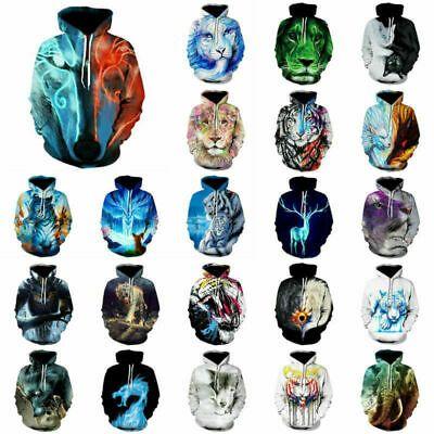 Unisex Galaxy Animal Graphic 3D Print Long Sleeve Hoodie Sweatshirt Coat Jacket
