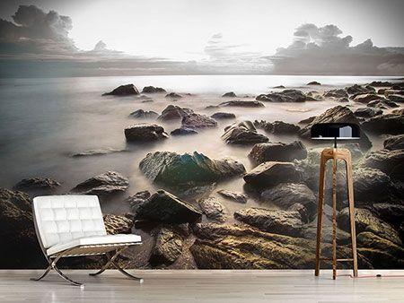 Raumansicht Wohnzimmer Fototapete Steine am Strand