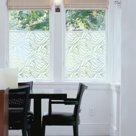 Wavy window film that will help you add a bit of privacy to a room on street level.