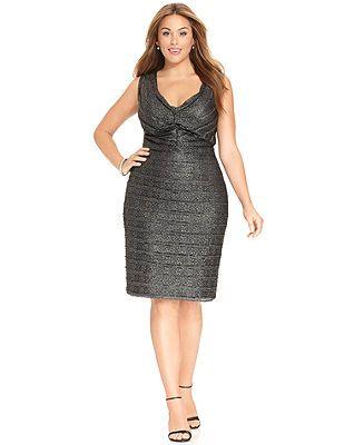 Calvin Klein Plus Size Dress, Sleeveless Metallic Knit Sheath - Plus Size Dresses - Plus Sizes - Macy's