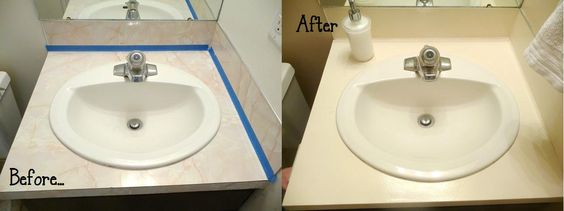 Painting laminate countertops is easy! DON'T pay a lot of money for specialty countertop paint. 6 simple steps. Love it!!
