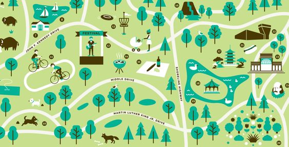 Each table could be a part of the big wedding park. Eg the secret garden table, the bandstand, the lake, the adventure playground, then we theme each table to that.