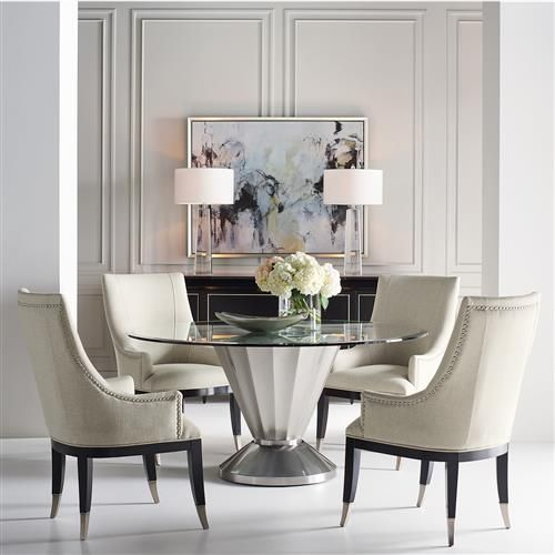 Unger Modern Classic Scalloped Silver Round Glass Top Dining Table