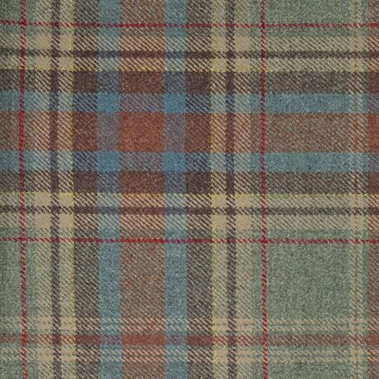 Buchan Wool Plaid Fabric Buchan Plaid is a pure new wool in blue, red, russet, caramel and flame, created in Scotland.