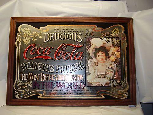 Vintage Coca Cola Mirror Sign Ebay Coca Cola