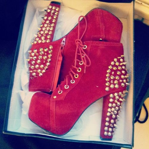 pink studded heeels