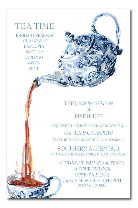 free bridal showertea party invitation templates | Blue ...