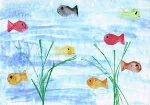 Fische drucken - Basteln im Sommer :-)