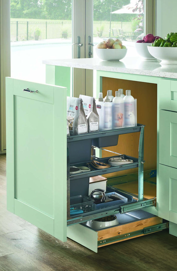 Keep your kitchen organized and clean with dedicated pet food storage for your four-legged family members. Close the toe-kick drawer when your pet is done eating and drinking. Martha Stewart Living is available at @homedepot.