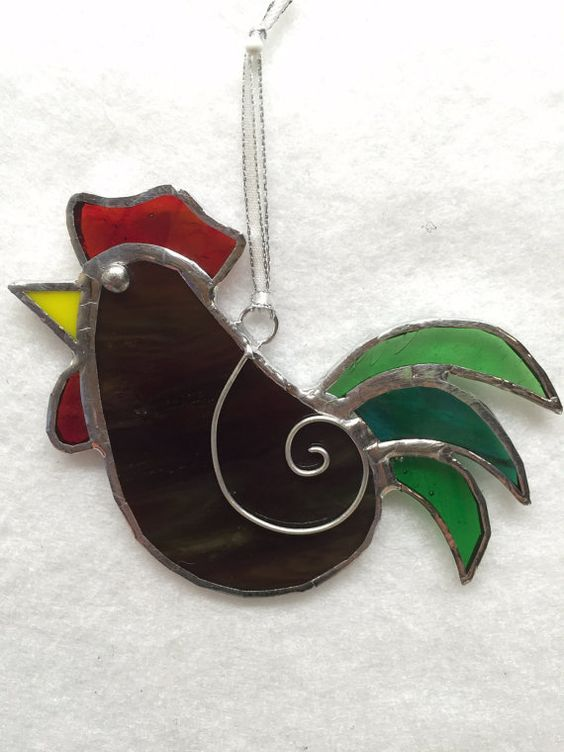 Stained Glass Ornament Rooster by MamaAgees on Etsy