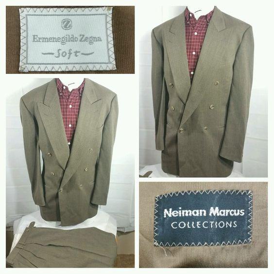 Ermenegildo Zegna Soft Wool Blend Solid Brown Double Breasted Suit Size 54/44L  #ErmenegildoZegna #DoubleBreasted
