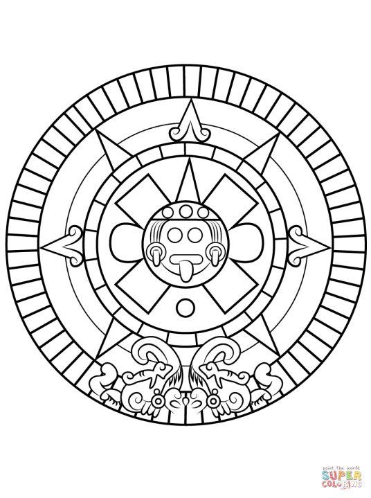 7 Aztec Sun Coloring Page Sun Coloring Pages Aztec Calendar Aztec Art