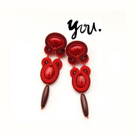 Unique red earrings embroidery soutache jewelry long by MANJApl, $43.00