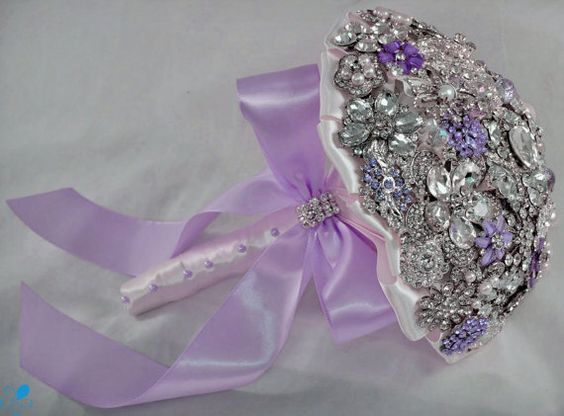 Lavender Crystal Brooch Bouquet  by Blue Petyl  SMALL by BluePetyl, $325.00