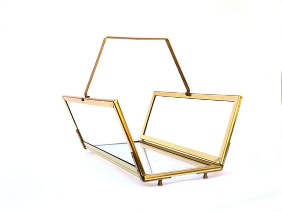 large brass glass magazine rack log holder by rdeanlee on Etsy