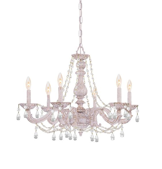 Crystorama Clear Hand Cut Crystal Chandelier 6 Lights - Antique White - 5026-AW-CL-MWP