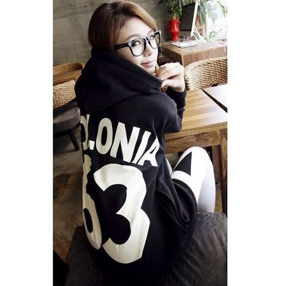 Grey Long Sleeve Hood Women Letter Printing Cotton Hoodies One Size... ($19) via Polyvore