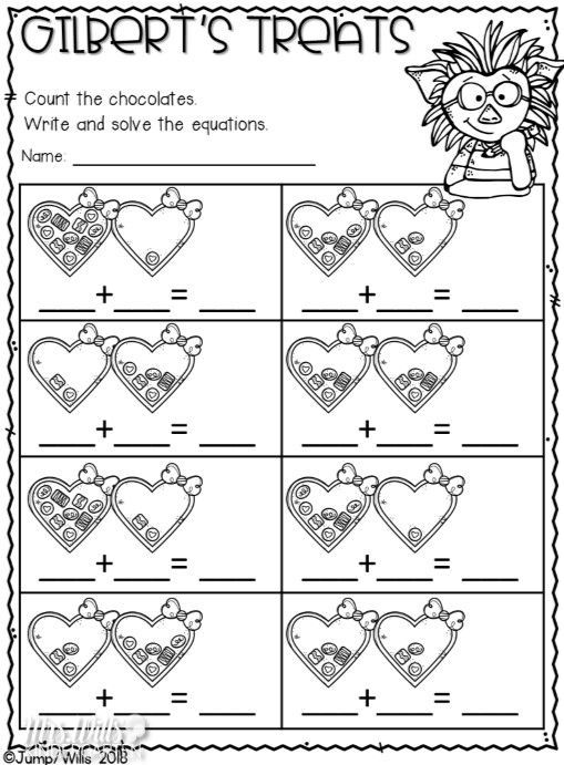 Roses Are Pink Math Worksheet For Addition Students Count The Hearts And Write The Equation Great For Kindergarten Math Kindergarten Valentines Simple Math Writing addition equations worksheets
