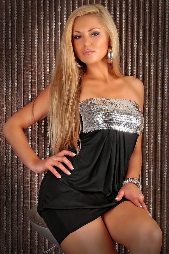 SEXY BANDEAU DRESS MINI DRESS WITH SEQUINS PARTY BLACK