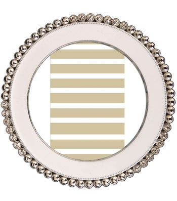 Glam Frames Round Beaded Frame-Silver Edge