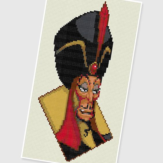PDF Cross Stitch pattern  0245.Jafar  Aladdin   by PIXcross