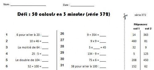 D fi calcul mental charivari ecole ce2 pinterest - A portee de maths cm2 en ligne ...