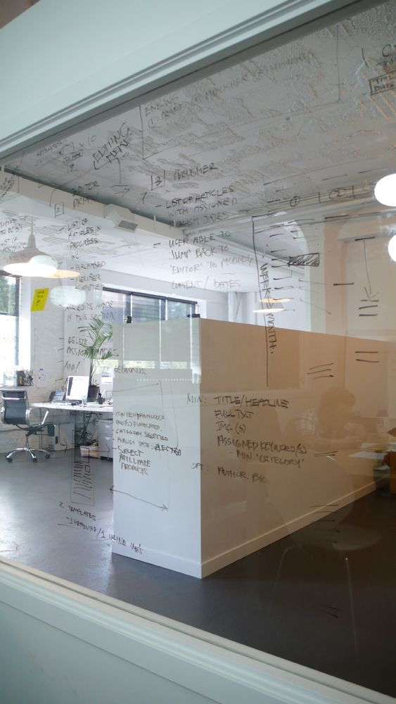 Cool whiteboard engine digital offices vancouver for Cool office wall ideas