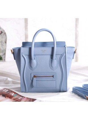 celine bag imitation - Celine Nano Luggage Mini Crossbody Tote Powder Blue | Sky | Ocean ...
