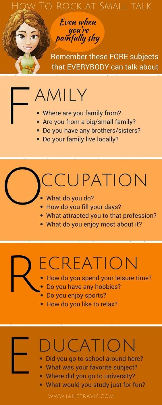 Communication Infographic: Got a party coming up and dreading the small talk? Remember these FORE conversation starters and you'll soon find common ground.