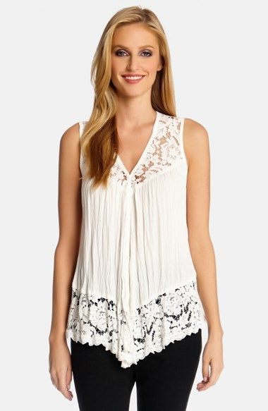 Karen Kane Lace Inset Crinkle Tank @Nordstrom.com. Floral lace at the yoke and hem brings fresh charm to a crinkled crepe tank cut with a V-neckline and dipped font hem.