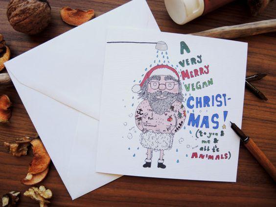 Vegan Christmas Card A very VEGAN Christmas to you by mishishki