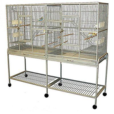 LARGE Double Flight Wrought Iron Bird Cage Cockatiel Ferret Sugar Glider0439-169